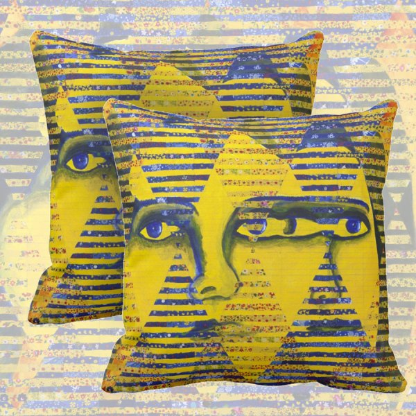 Conundrum II, Abstract Golden Sapphire Goddess Collage | Throw Pillows