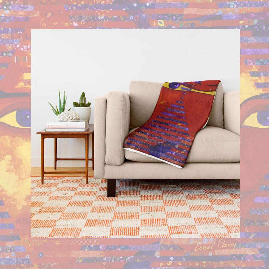 Conundrum Iii Abstract Purple Orange Goddess Collage Throw Blanket