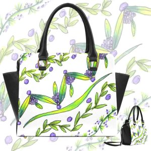 Dancing Greeen, Purple Vines, Grapes Zendoodle Classic Shoulder Handbag-AA