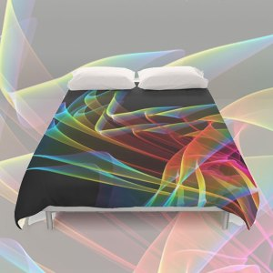 Dancing Northern Lights, Abstract Summer Sky Fractal | Duvet Cover