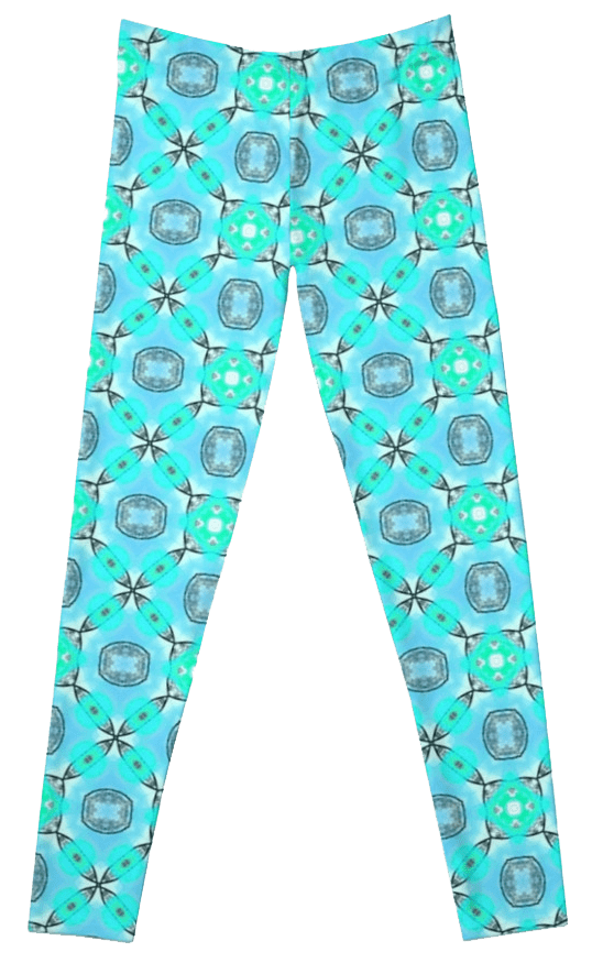 Elegant Blue Teal Abstract Modern Foliage Leaves Leggings
