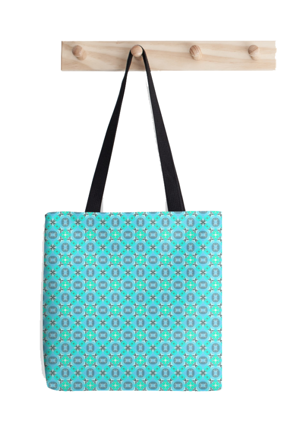 Elegant Blue Teal Abstract Modern Foliage Leaves Tote Bag