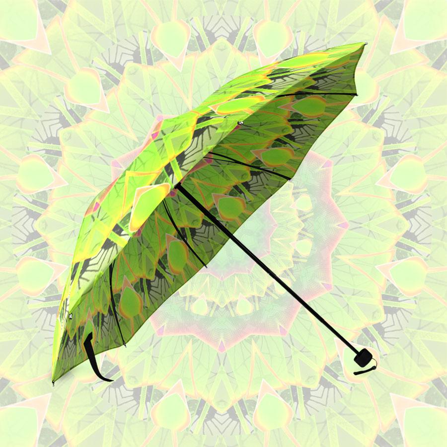 Golden Green Foliage Abstract Summer Days | Foldable Umbrella
