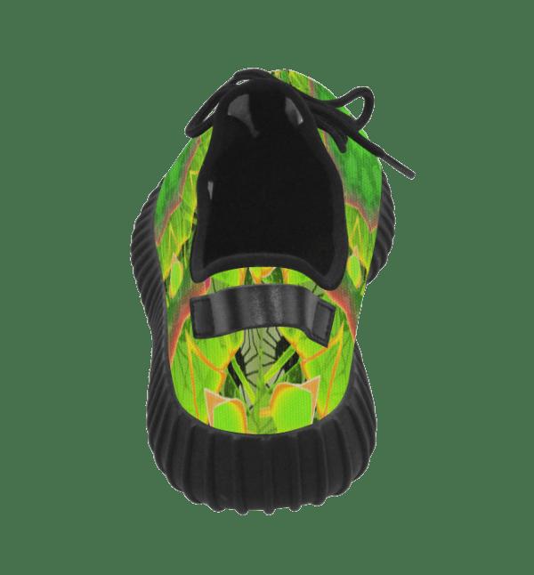 Golden Green Foliage Ferns Abstract Summer Days Grus Women's Breatheable Woven Running Shoes (Model 022)