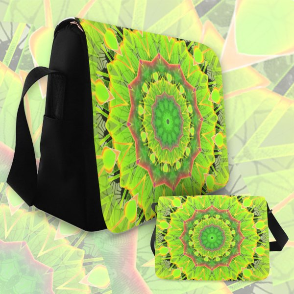 Golden Green Foliage Ferns Abstract Summer Days | Messenger Bag