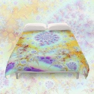Golden Violet Sea Shells, Abstract Fractal Ocean | Duvet Cover