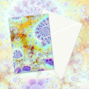 Golden Violet Sea Shells, Abstract Fractal Ocean | Greeting Card