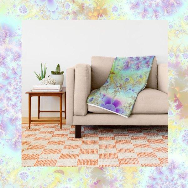 Golden Violet Sea Shells, Abstract Fractal Ocean   Throw Blanket
