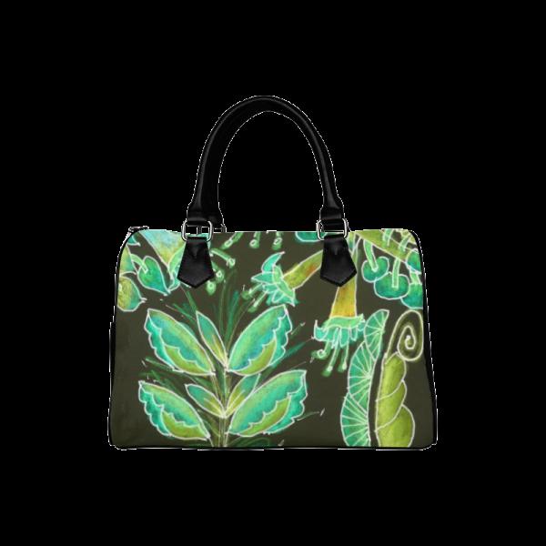 Irish Garden, Lime Green Flowers Dance in Joy Boston Handbag