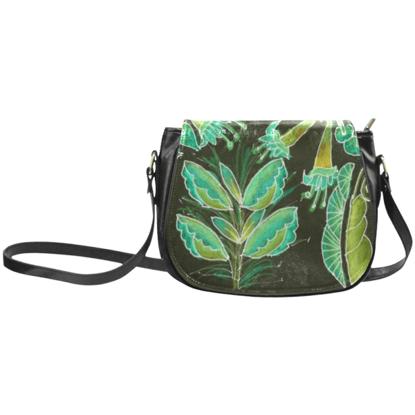Irish Garden, Lime Green Flowers Dance in Joy Classic Saddle Bag/Large