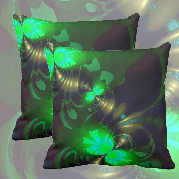 Irish Goblin, Emerald, Bronze and Gold Ribbons   Throw Pillows
