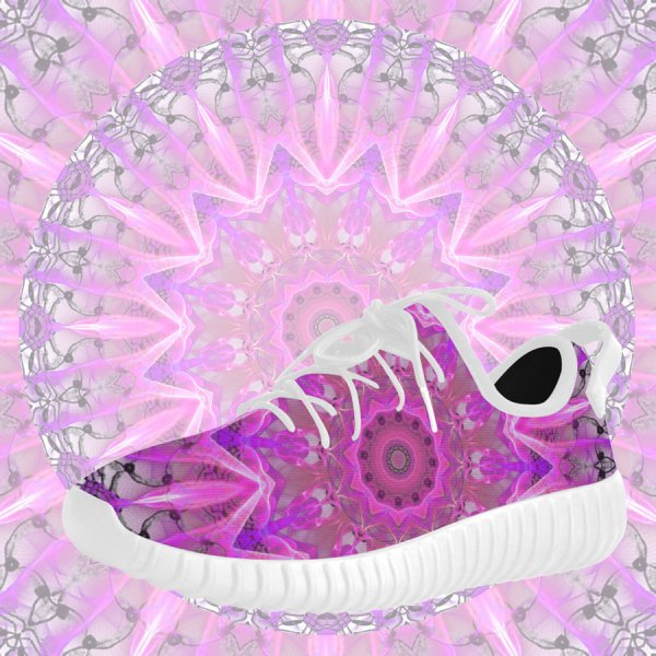 Lavender Lace Abstract Pink Light Love Lattice Grus Women's Breatheable Woven Running Shoes (Model 022)