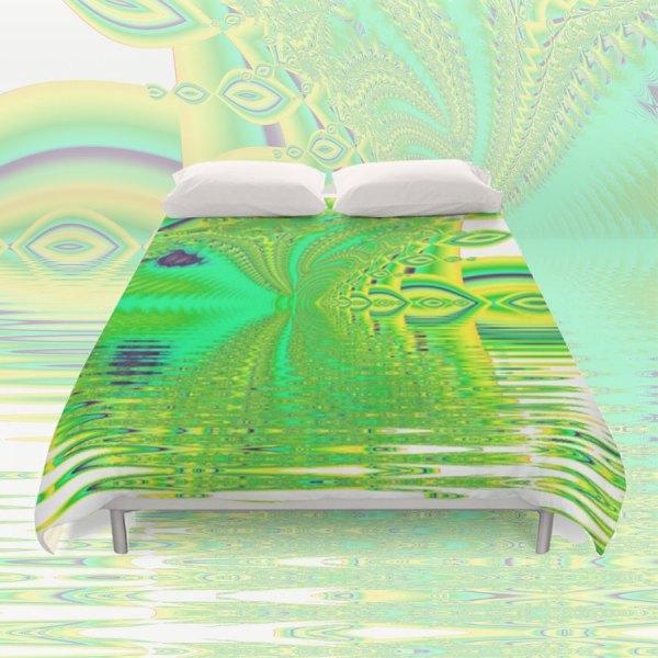 Lemon Lime Cool Summer Day, Fractal Dreams in Green | Duvet Cover