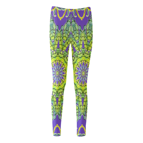 Star Matrix Mandala Lime Green Yellow Leaves Purple | Cassandra Women's Leggings | DianeClancy @ ArtsAdd