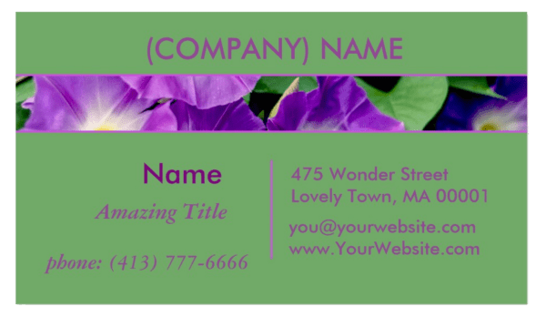 Morning Glory, Purple Trumpet Flowers, Green Leaves | Business Cards