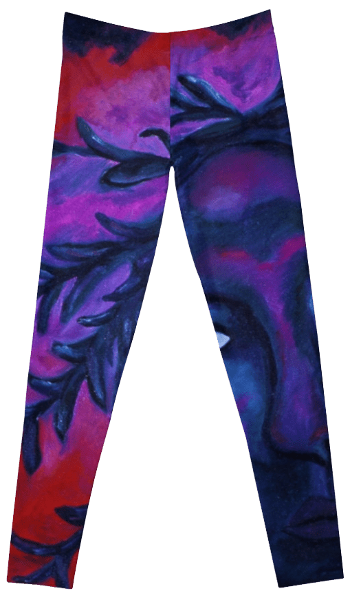 Mother Watching All, Crimson & Violet Compassion Oil Painting Leggings
