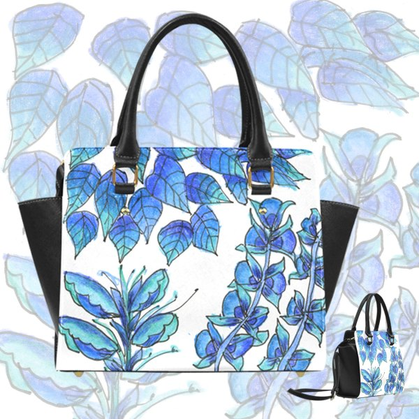Pretty Blue Flowers, Aqua Garden Zendoodle Classic Shoulder Handbag