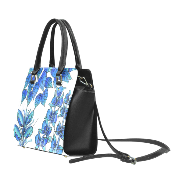 Pretty Blue Flowers, Aqua Garden Zendoodle | Classic Shoulder Handbag