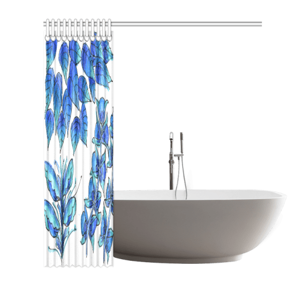 "Pretty Blue Flowers, Aqua Garden Zendoodle | Shower Curtain 66""x72"""