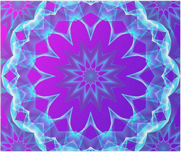 Psychedelic Stars, Abstract Violet Purple Glow | Wrapping Paper | Flat