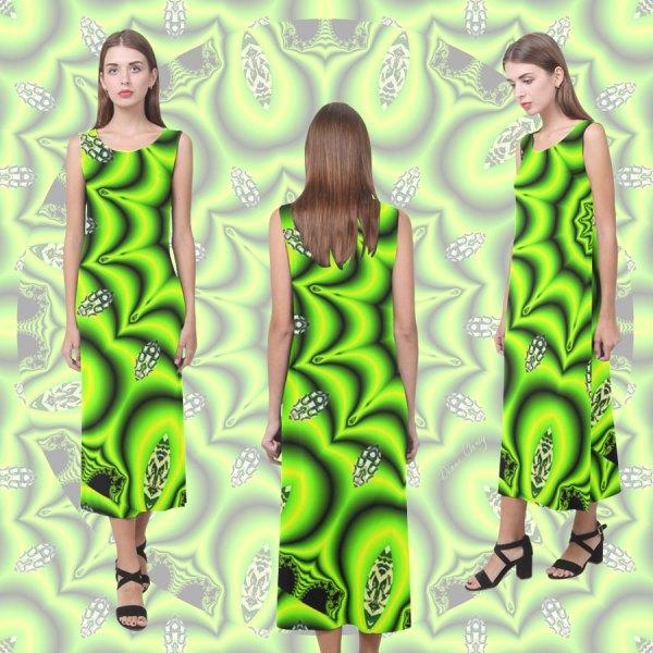 Spring Lime Green Garden Mandala, Abstract Spirals   Sleeveless Open Fork Long Dress