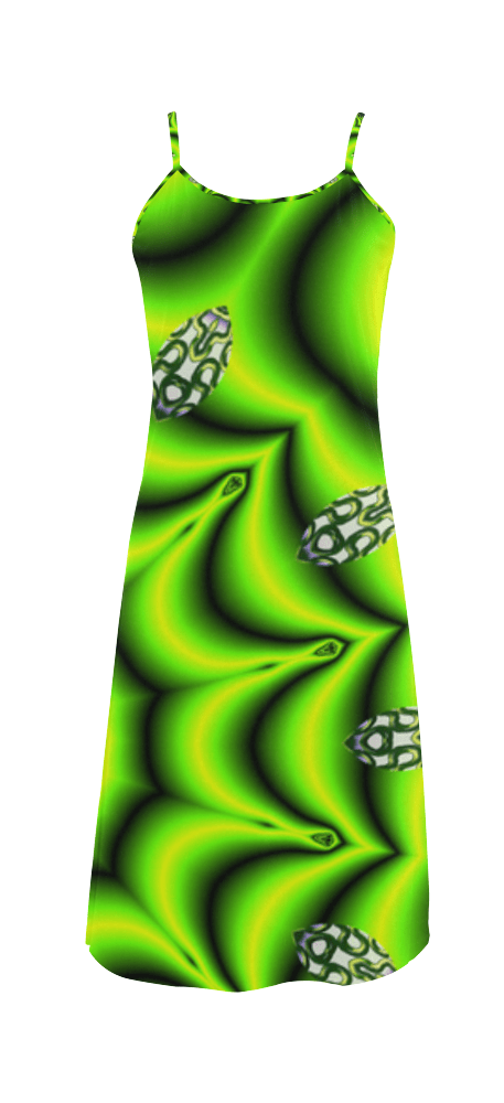Spring Lime Green Garden Mandala, Abstract Spirals Slip Dress