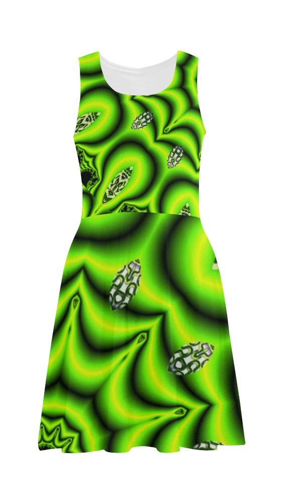 Spring Lime Green Garden Mandala, Abstract Spirals Sundress