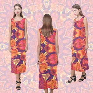 Sunburst, Abstract Peach Cream Orange Star Quilt Mandala | Sleeveless Open Fork Long Dress