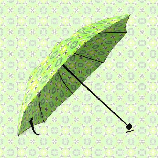 Vibrant Abstract Tropical Lime Foliage Lattice | Foldable Umbrella