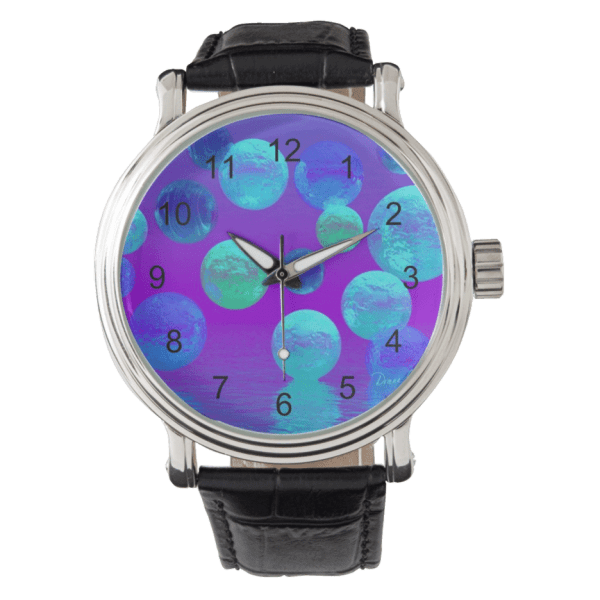 Violet Mist, Cyan, Purple Abstract Light Bubblescape | Wristwatches  | DianeClancyBubbles @Zazzle