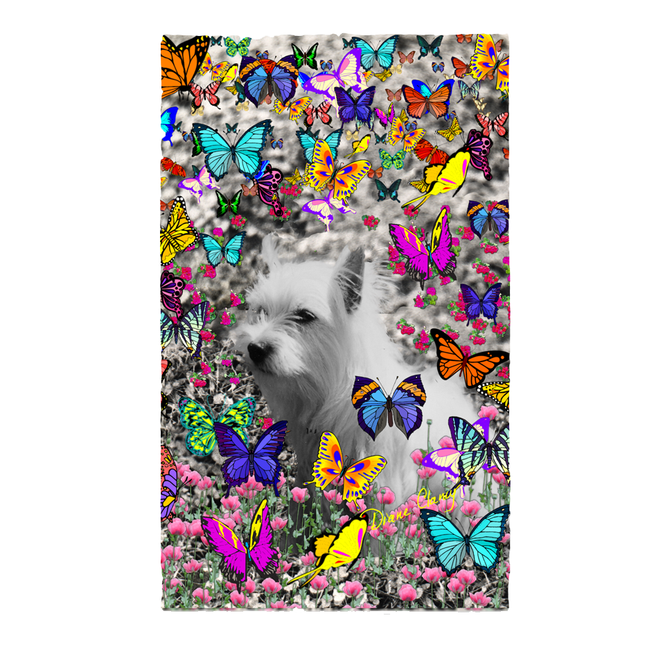 Sold! ❤ Violet, the White Westie in Butterflies I | 3'x5'Area Rug