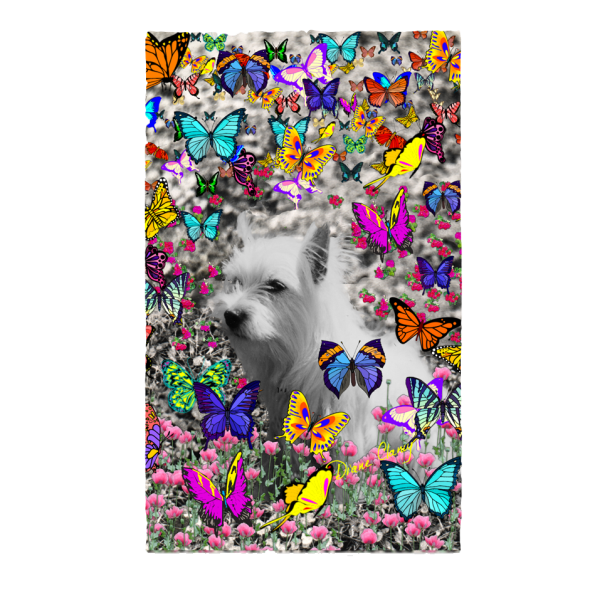 Violet, the White Westie in Butterflies | 3'x5'Area Rug | DianeClancy | @ CafePress