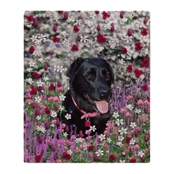 Abby the Black Labrador in Flowers I Fleece Throw Blanket 50″x60″ | DianeClancy | @ CafePress