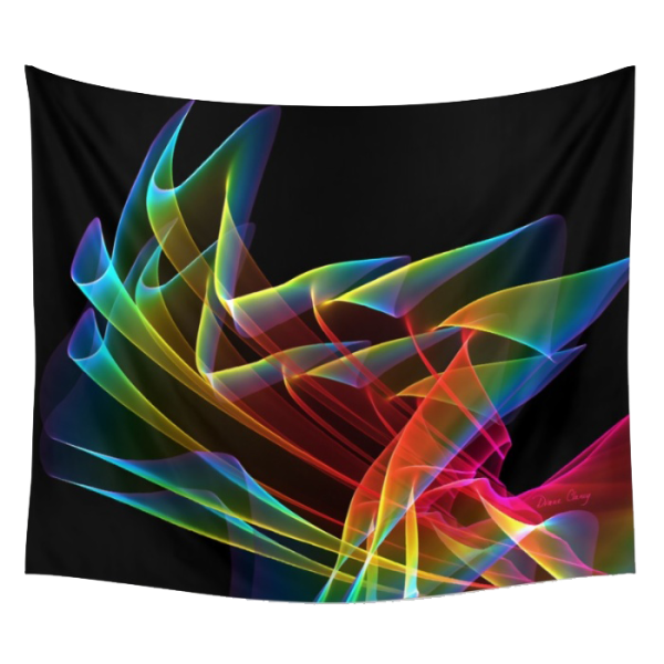 Dancing Northern Lights, Abstract Summer Sky Fractal | Wall Hanging