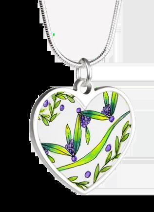 Dancing Green, Purple Vines, Grapes Zendoodle | Heart Necklace