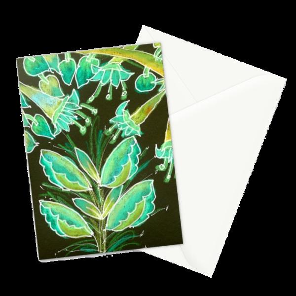 Irish Garden, Lime Green Flowers Dance in Joy | Greeting Card