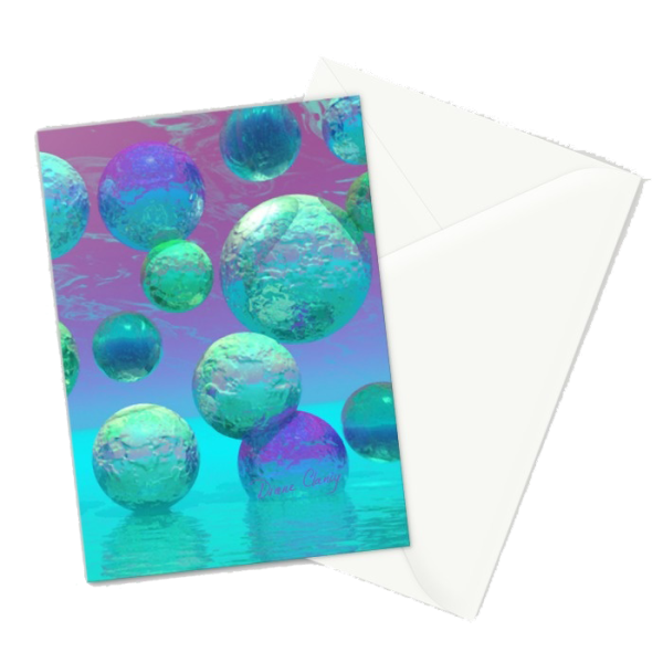 Ocean Dreams, Aqua and Indigo Seascape Universe | Greeting Card