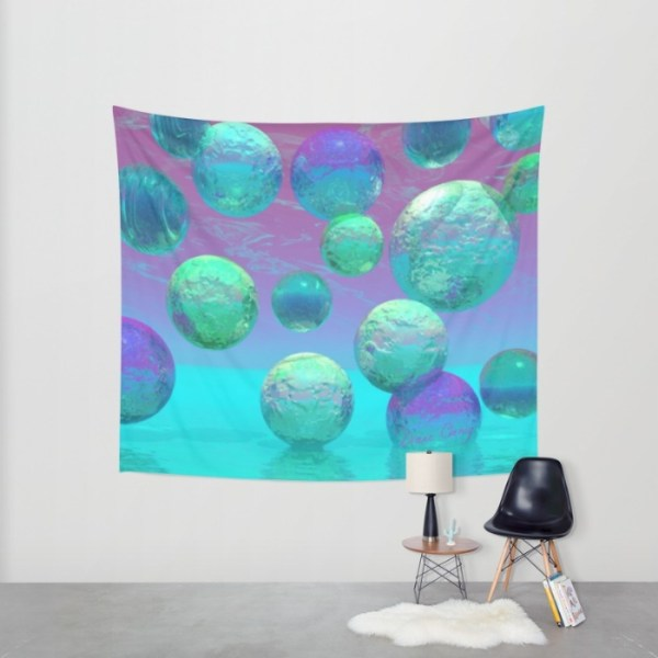 Ocean Dreams, Aqua and Indigo Seascape Universe | Wall Hanging