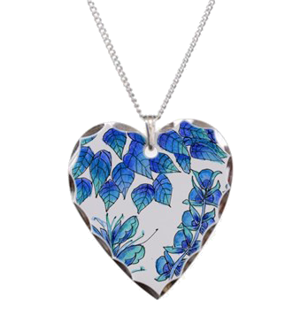 Pretty Blue Flowers, Aqua Garden Zendoodle | Heart Necklace
