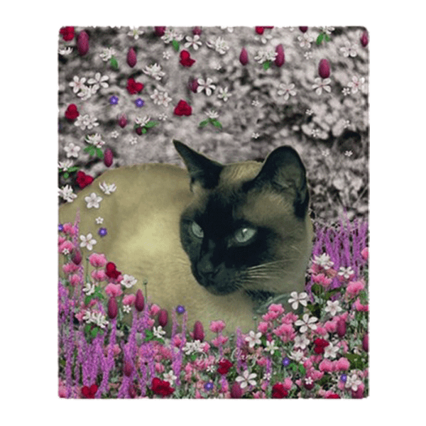 "Stella Chocolate Point Siamese Cat in Flowers I Fleece Throw Blanket 50""x60"" 