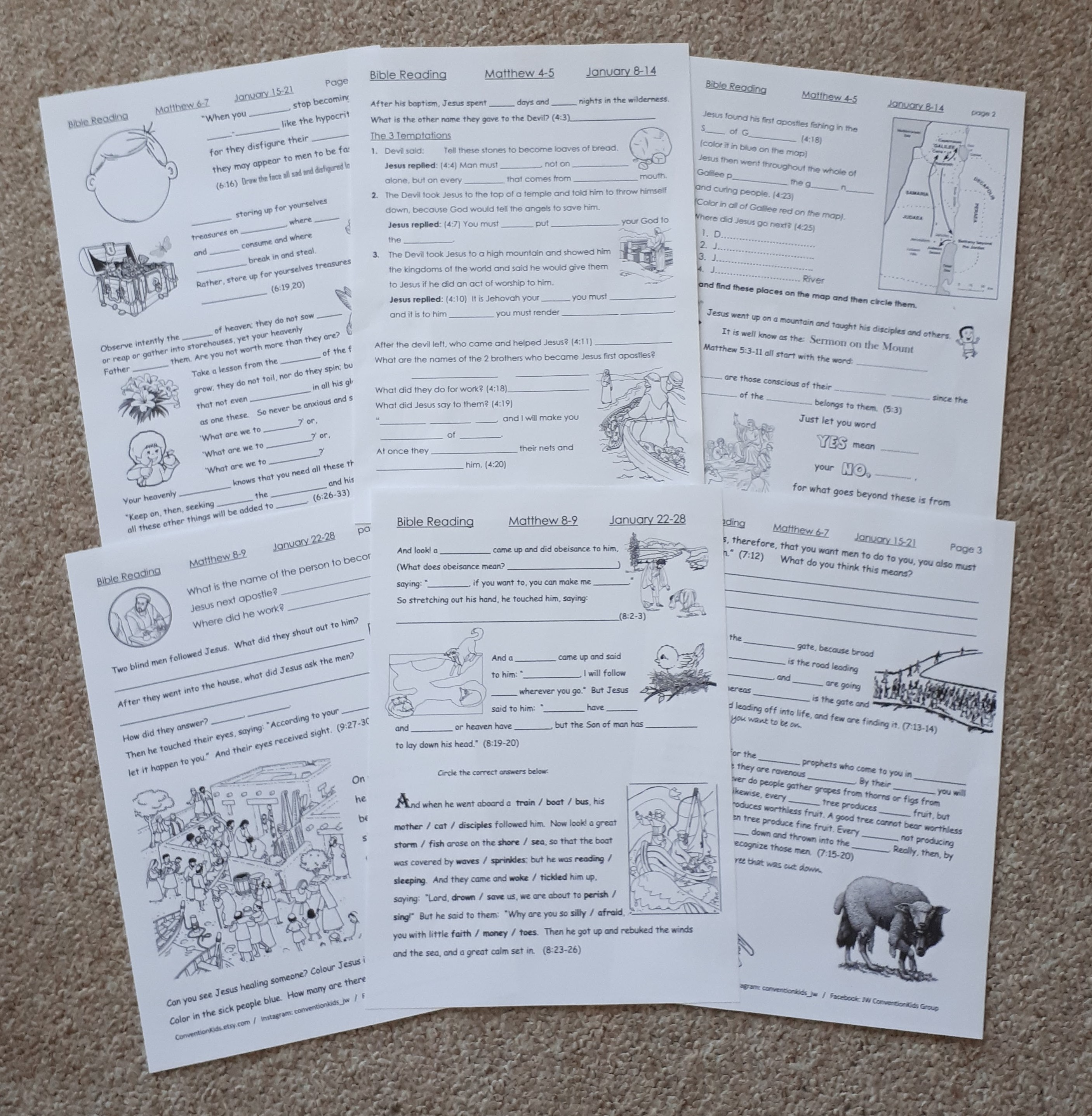 Weekly Bible Reading Worksheets for Children in Spanish   English     Add