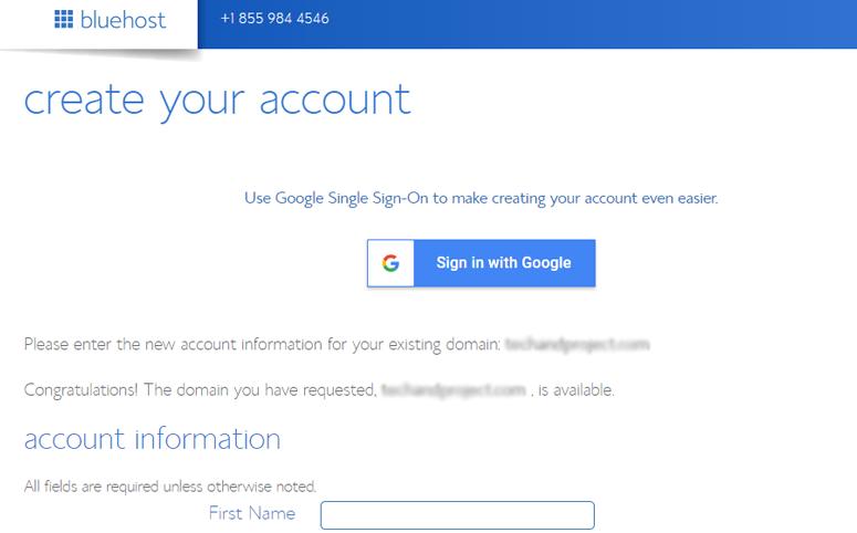 creazione dell'account bluehost