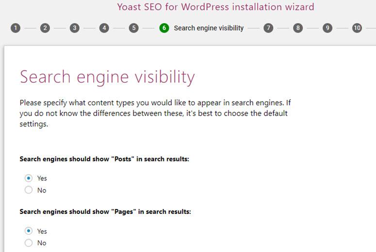 yoast seo search engine visibility
