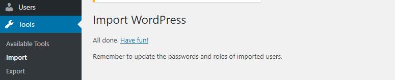 import wordpress success message