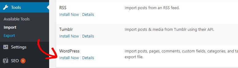 wordpress import install