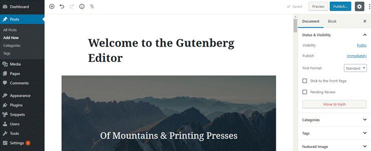 editor di gutenberg