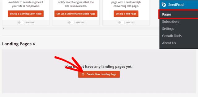 إنشاء الصفحة المقصودة