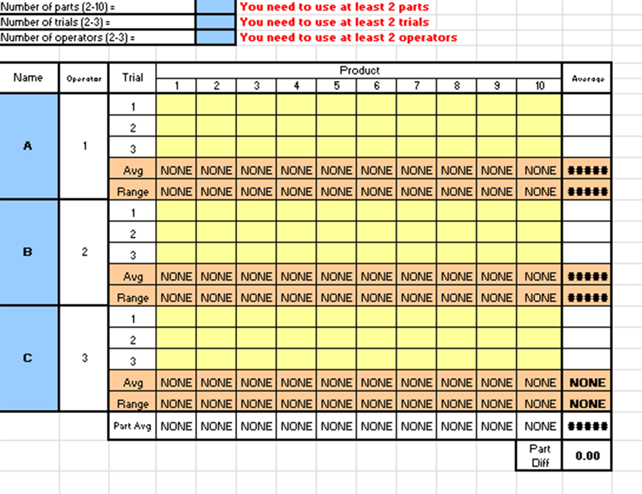 Gage R Amp R Excel Template
