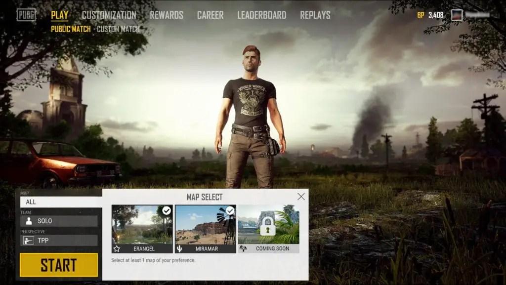 PlayerUnknown's Battlegrounds Map Select