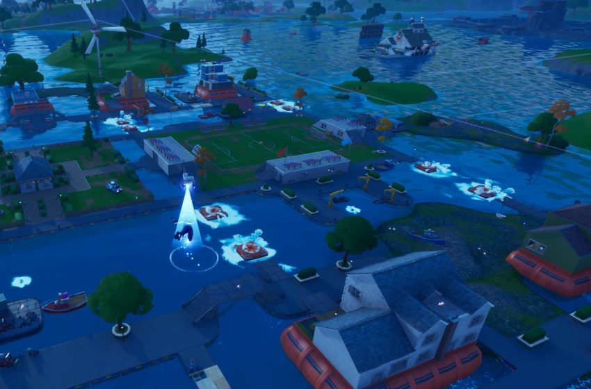 Score a goal on the soccer pitch at Pleasant Park in Fortnite